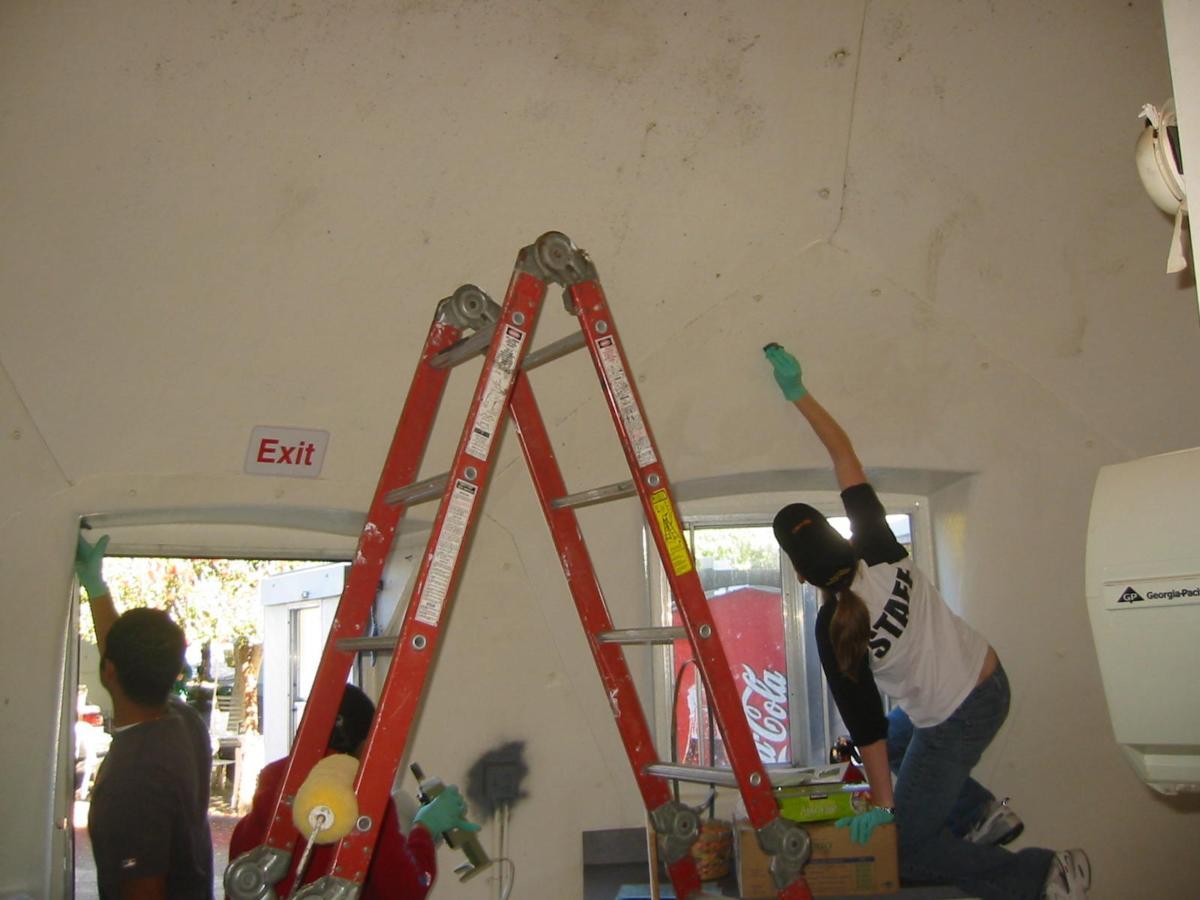 volunteers cleaning walls